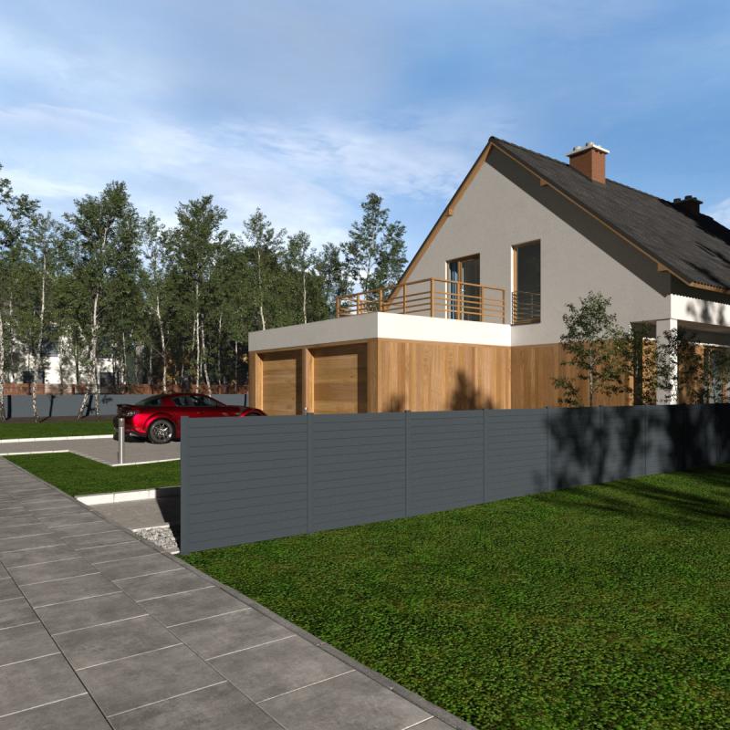 Simulation 3D d'une clôture en aluminium