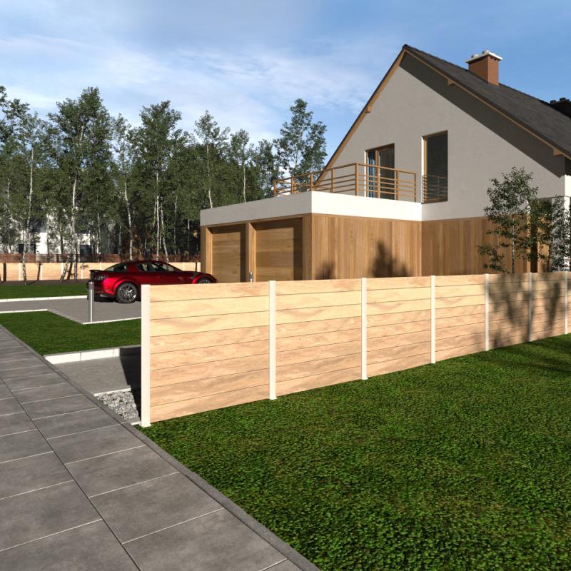 Simulation 3D d'une clôture en composite effet bois